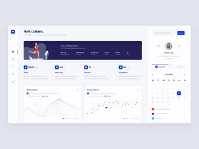 Be Healthy - Better lifestyle platform. Dashboard concept.