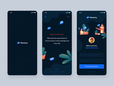 Harmony App - Free, fast, easy and secure communication app message blue clouds illustration explainer login conversion chat app chat community dark ui mobile app ux application clean ui design movade app mobile