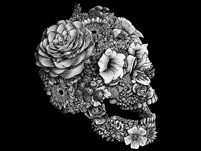 MEMENTO MORI design graphic drawing illustrator artwork artist floral illustration blackandwhite flowers skull debut