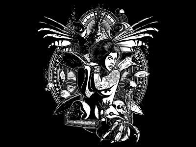 MERMAID tattoostyle dark illustration hermitcrab fish blackandwhite mermaid