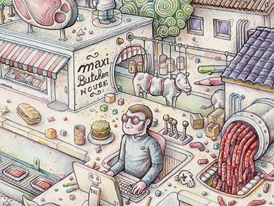Meat's World crayon drawing illustration hatching food burger cow pencil imaginary world