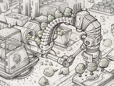 WIP: tree planter machine tree planter drawing pencil illustration vector mechanical tree snake