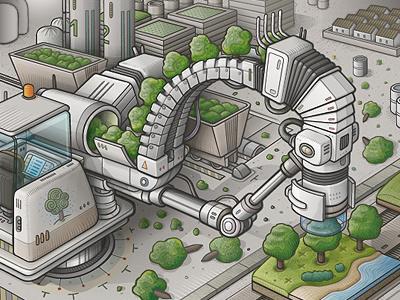 WIP 2: tree planter machine illustration vector tree mechanical tree planter snake
