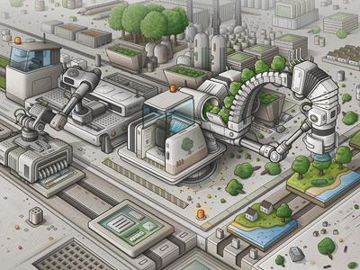 Mi Factory illustration vector mechanical machinery detail tree planter tree map