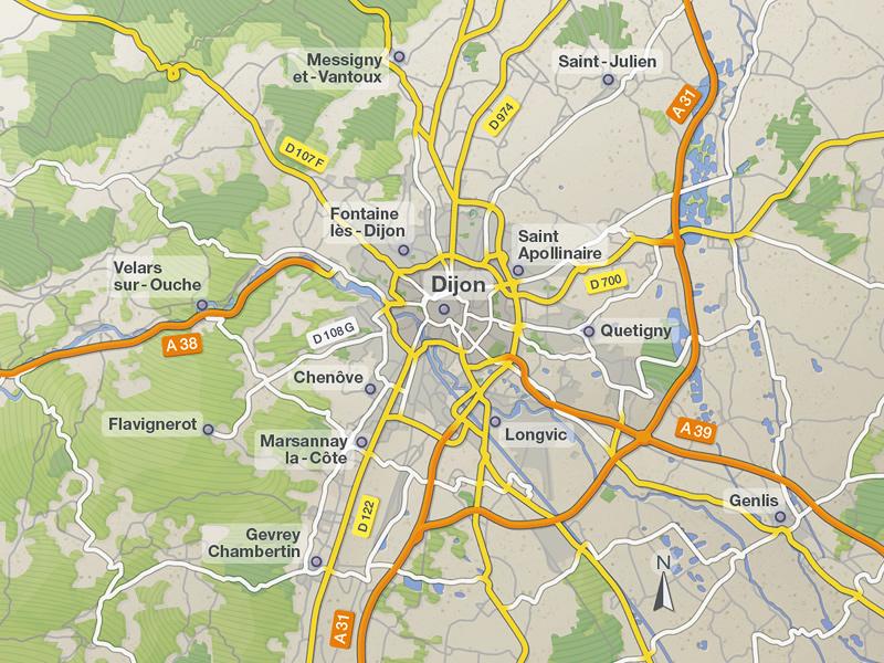 City Map 2 (Dijon, Burgundy, France) city map design vector illustration map rendering cartographisme city street illustration de carte