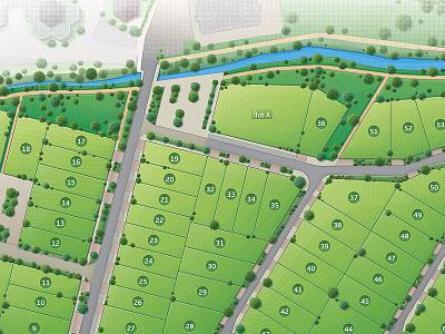 Housing estate map 6 illustration map housing estate city vector tree lotissement plan de lotissement cartographisme carte