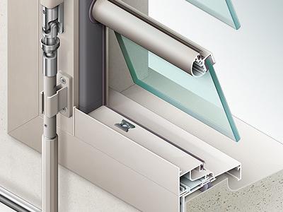 Window colorization 3 rendering bitmap aluminium cad colorization window aluminum profile chrome technical illustration
