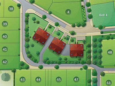 Housing estate map 3 rebound immeuble lotissement carte tree small building city vector map housing estate