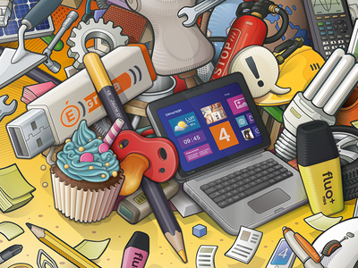 Tools and Trades laptop bulb papers gearing extinguisher calculator cupcake crayon trades tools vector vector illustration