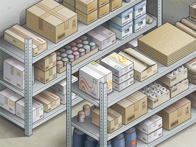 Storage Part rack box storage illustrator vector