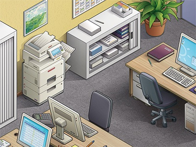 Office part - R2 phone screen office printer office vector plant illustrator folder flooring archives