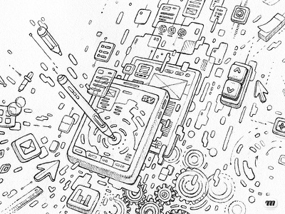 WIP: Tech Illustration - step 1 tools screen illustration crayon drawing wip sketch