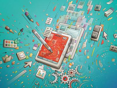 Tech design process #1 system keys gear interface pen app design techno tech process graphic design vectorial vector
