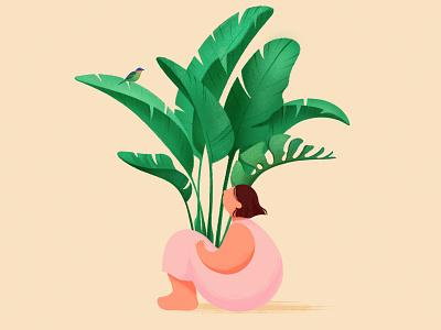 Hello! procreate child shot design girl hello hello dribble plants monstera flat texture leaves illustration nature flora character bird botanic flowers plant