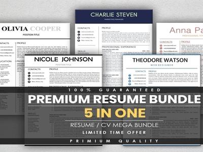 Premium CV Template Bundle branding design branding resume template resume design resume clean resume cv resume cv resume template cv template cv resume cv design cv clean cv