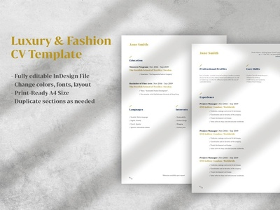 Luxury Fashion CV Template cv resume template cv resume cv design cv clean resume template resume design resume clean resume cv responsive resume cv template word