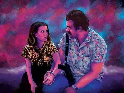 El and Hopper portrait photoshop illustration