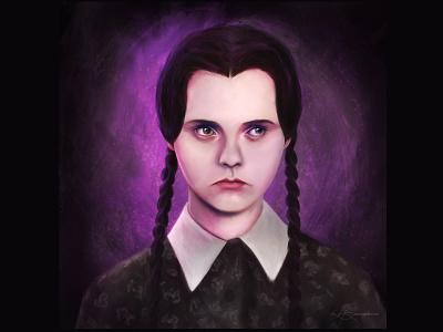 Wednesday halloween wednesday addams wednesday pop culture digital painting procreate portrait illustration