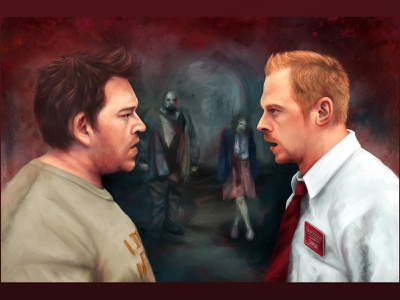 That's the second album I ever bought! shaun of the dead horror comedy halloween digital art pop culture digital painting procreate portrait illustration