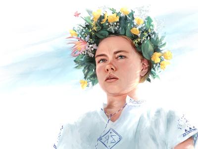 Midsommar midsommar horror digital art pop culture digital painting procreate portrait illustration