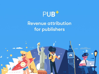 Pubplus - Revenue attribution for publishers charachters ui ux illustration