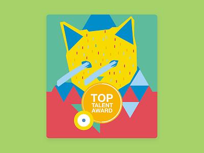 Top talent award illustration #1 charachter cat illustration branding