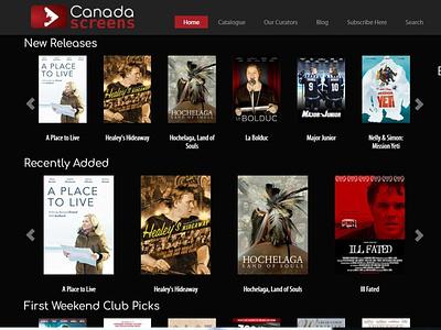 Canada Screens - VOD Website vod joomla website design responsive project lead ux web