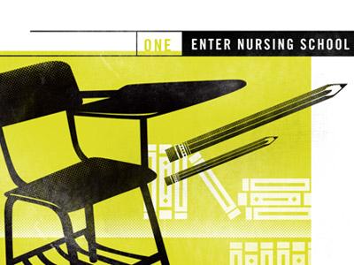 Step One - Enter School infographic nursing pencil desk books halftone illustration
