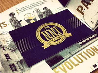 Centennial Invite screenprint invite gold centennial history nursing