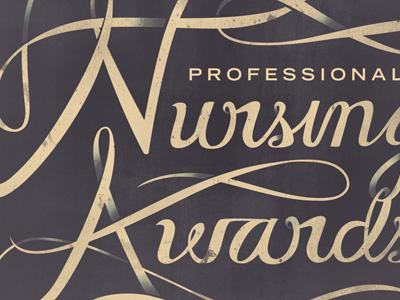 Nursing Awards typography swash script nursing awards texture professional curves