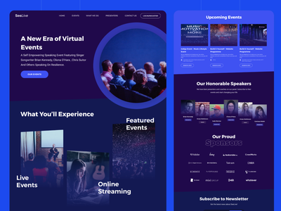 Events Landing Page Design landing page ui interaction design