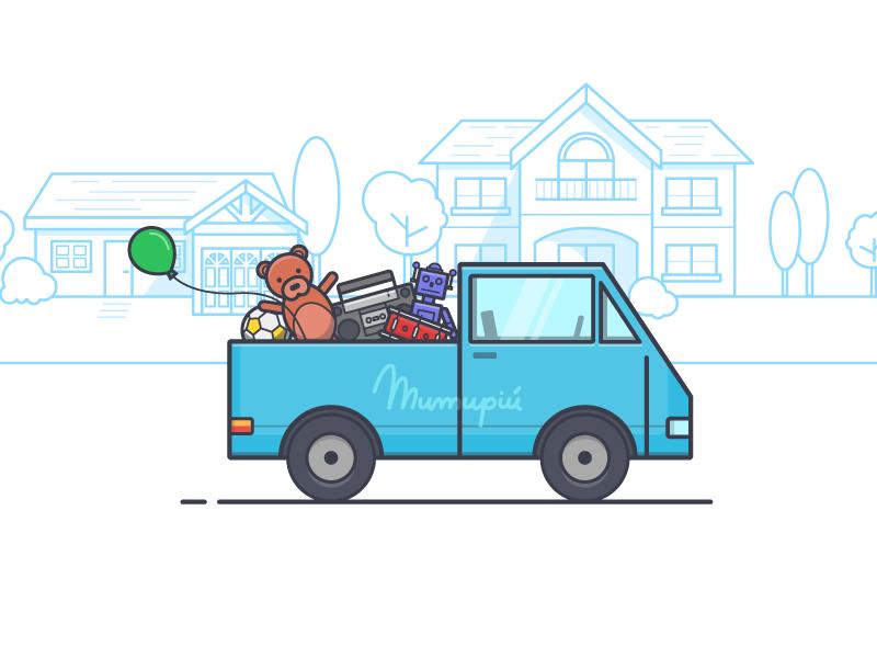 Illustration & Logo for the Mumupiú Website logo neighborhood line outline toys van illustration