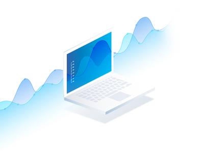 Isometric MacBook Chart for Apptopia