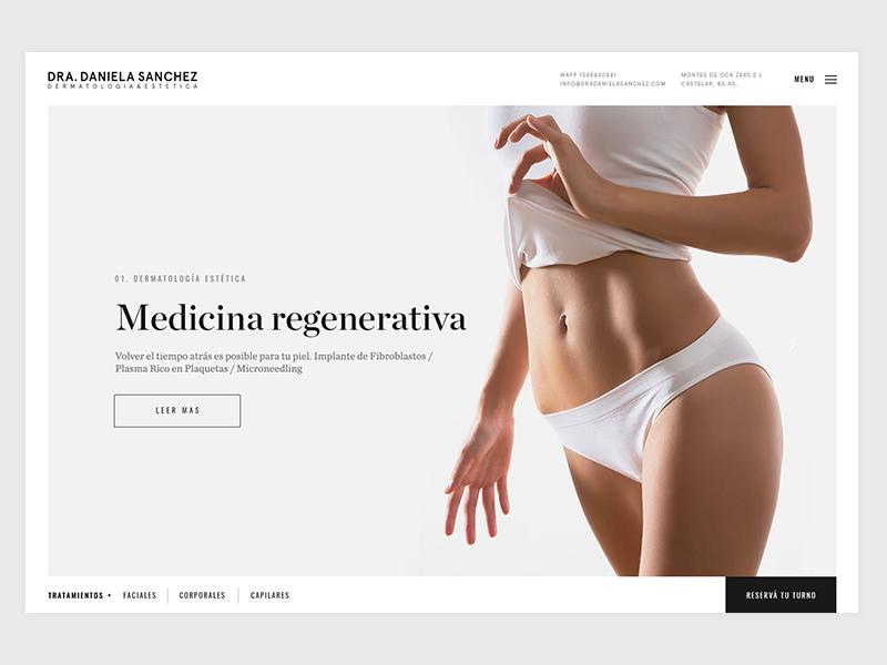 Dra. Daniela Sanchez Website v2 esthetic website slider simple medicine homepage doctor clean