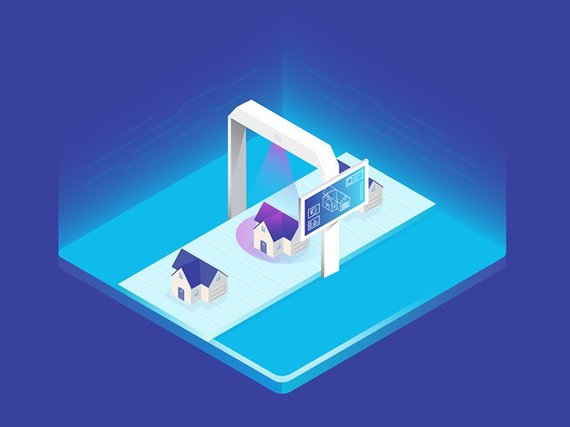 Isometric Illustration for RealTAG screen house chart isometric macbook graph illustration