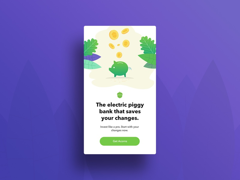 Acorns Banner v2 piggy piggybank advertising banner clean simple vector illustration