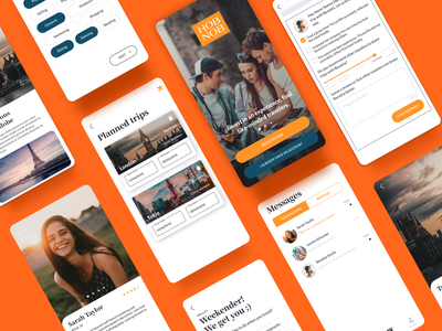 Hobnob, a unique Travel App travel clean style design mobile app mobile ui travel app design naming branding