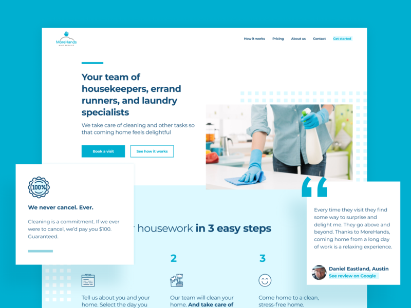 MoreHands's new home page homepage prototype brand story website cleaning service maids laundry maid service sprint design sprint ui ux design landingpage landing