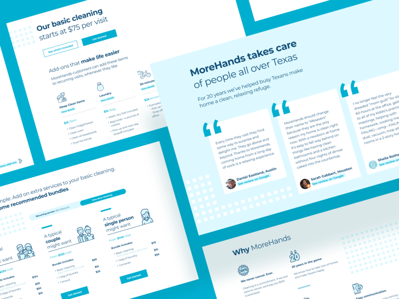 MoreHands's new home page. reliable caring simple brand story maid service maids cleaning service ui website design design sprint uxui ux design landing website