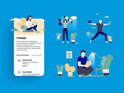 Brainpoints Illustrations' productivity health flat vector illustrator logo design sprint branding app illustration ui
