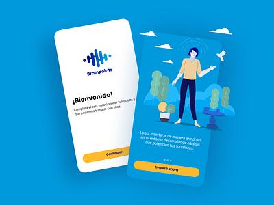 Brainpoints: Onboarding Screens improve wellness productivity health teamwork design sprint ux experience interface ui app flat vector illustrations