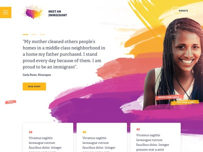 Meet an Immigrant: Homepage story brush stroke trump elections immigration meet an immigrant branding logo map us immigrant