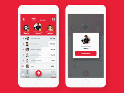 Leaderboard  + Mini Profile events social menu overlay modal app ios tabs prize leaderboard
