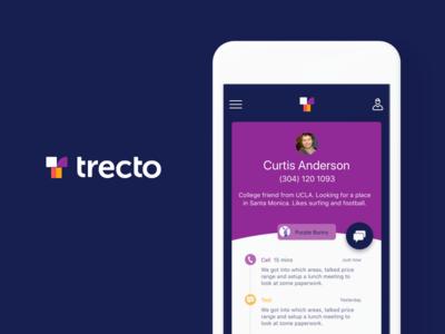 Trecto branding logo purple leads contacts app ios cards trecto
