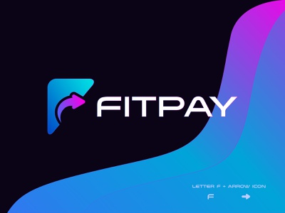 Fitpay Logo Design - fast online payment Logo graphic design f with arrow logo credit card pay fast quick speedy best logo designer online pay arrow fast money transfer branding fintech pay payment wallet app logo design brand identity f logo letter modern logo payment app payment method transfer payments online payment logo design