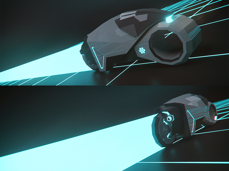Flynn light cycle low poly tron 3d octane c4d