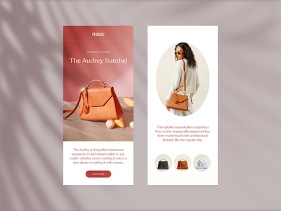 Design for Italic Teaser Email fashion ui luxury email layout design user interface ecommerce