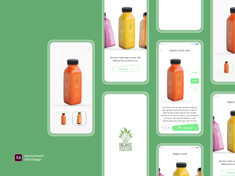 Organic Fresh Food & Juice drink food ios app design organic food juice app mobile ui dailyuidesign dailyui uxdesign adobexd design ux ui