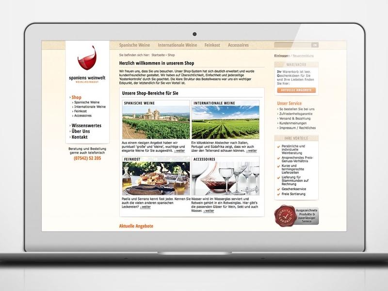 Webdesign for Spaniens Weinwelt ui design frontend design webdesign