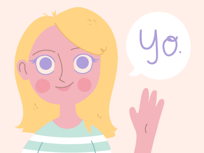 Why hello there - less outlines! yo sup hi pastel soft design portait self illustration flat